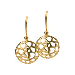 12mm Gold Abstract Disc Earrings