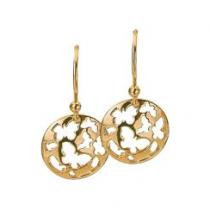12mm Gold Butterfly Disc Earrings