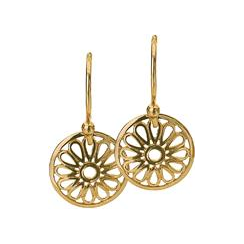 12mm Gold Flower Disc Earrings