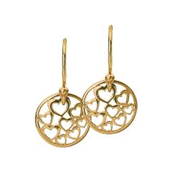 12mm Gold Heart Disc Earrings