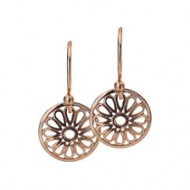 12mm Rose Gold Flower Disc Earrings