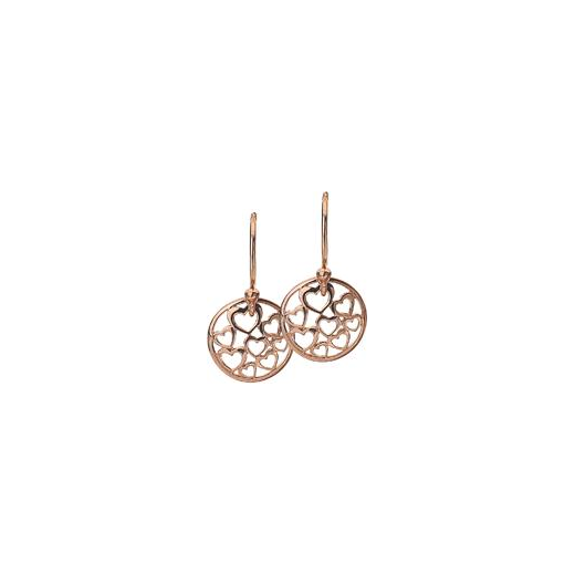 Virtue Keepsake 12mm Rose Gold Hearts Disc Earrings