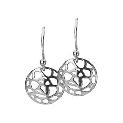 12mm Silver Abstract Disc Earrings