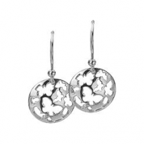 12mm Silver Butterfly Disc Earrings