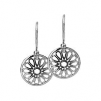 12mm Silver Flower Disc Earrings