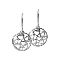 12mm Silver Hearts Disc Earrings