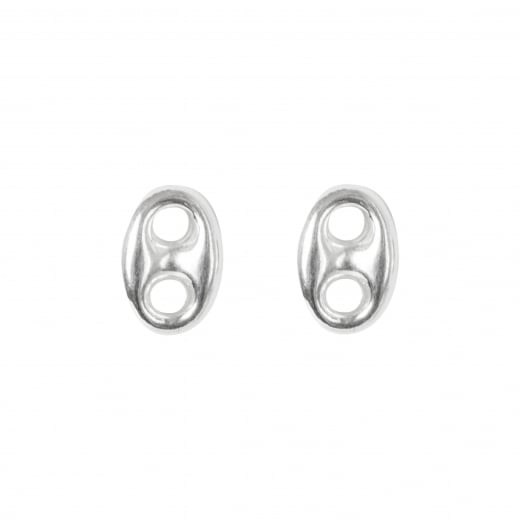 Coffee Bean Link Sterling Silver Earrings