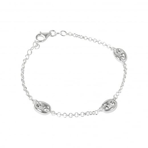 Virtue Exquisite Coffee Bean Link Sterling Silver Bracelet