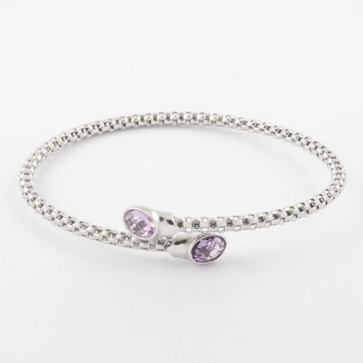 Virtue Exquisite Cross Over Precious Amethyst Bangle