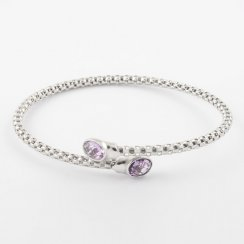 Cross Over Precious Amethyst Bangle