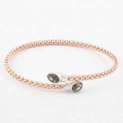 Cross Over Precious Smokey Quartz Bangle