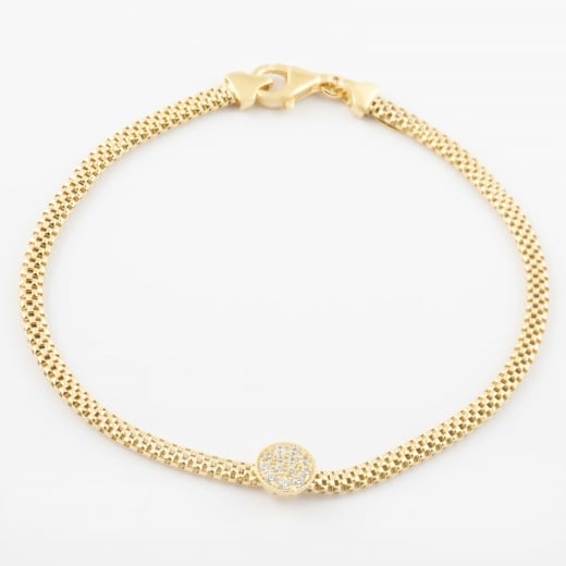 Virtue Exquisite CZ Gold Circle Mesh Bracelet