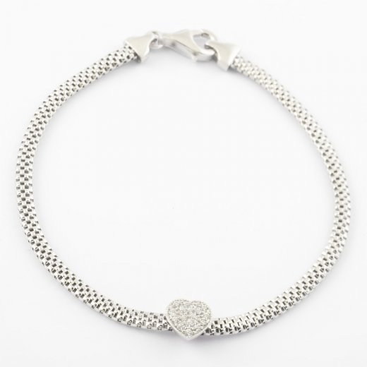 Virtue Exquisite CZ Heart Mesh Bracelet