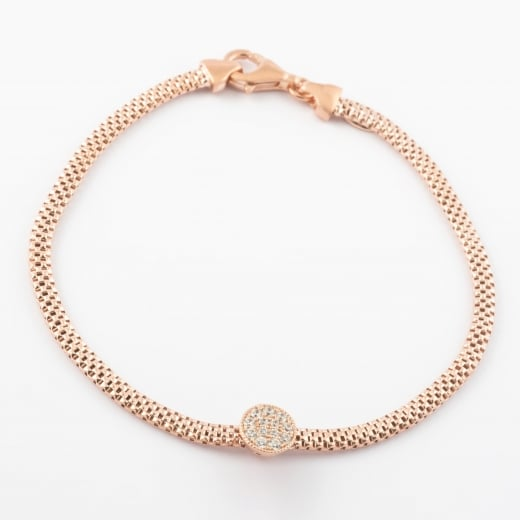 Virtue Exquisite CZ Mesh Rose Gold Circle Bracelet