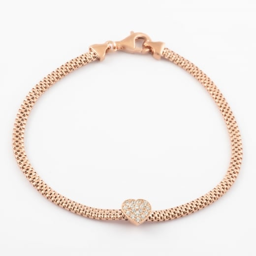 Virtue Exquisite CZ Mesh Rose Gold Heart Bracelet
