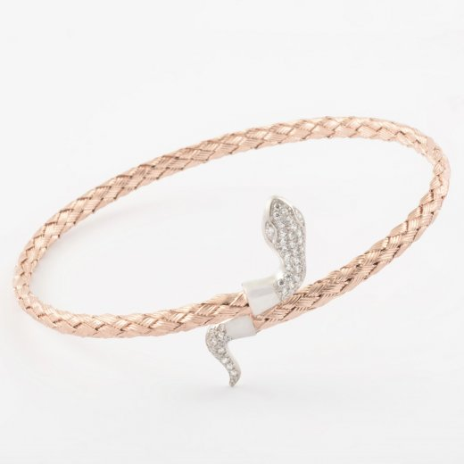 Virtue Exquisite CZ Snake Torque Bangle