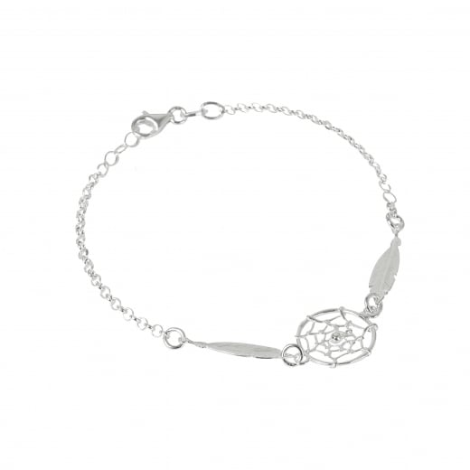 Virtue Exquisite Dream catcher Feather Silver Bracelet