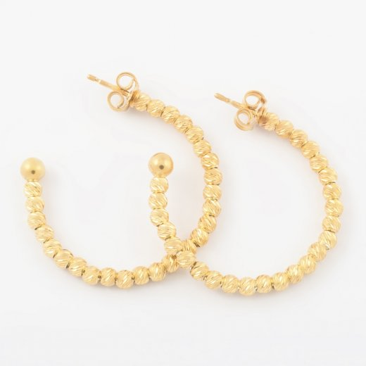 Virtue Exquisite Gold Beaded Hoop Earrings