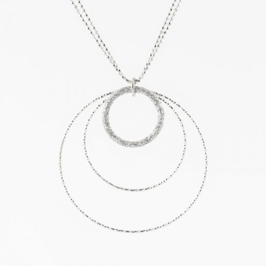 Virtue Exquisite Rhodium Triple Circle Necklace