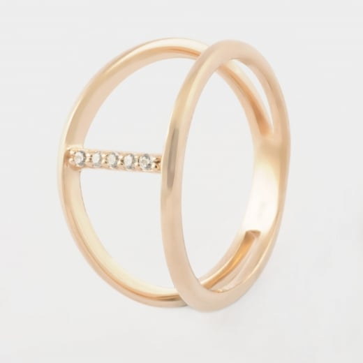 Virtue Exquisite Rose Gold and CZ Cross Bar Ring