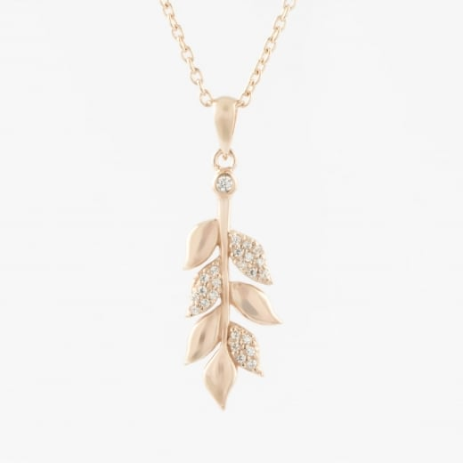 Virtue Exquisite Rose Gold and CZ Leaf Necklace