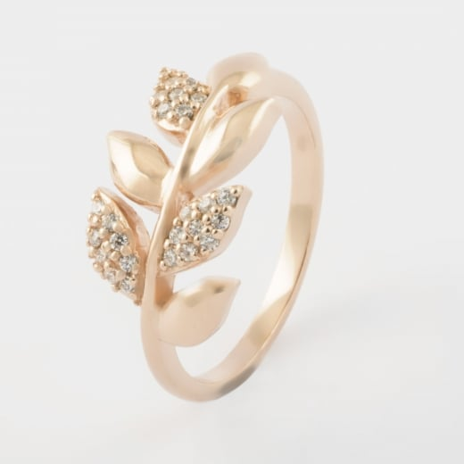 Virtue Exquisite Rose Gold and CZ Leaf Ring