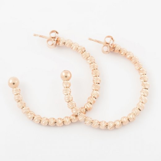 Virtue Exquisite Rose Gold Beaded Hoop Earrings