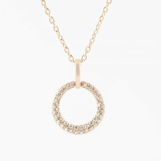 Virtue Exquisite Rose Gold Circle CZ Necklace