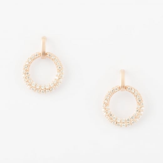 Virtue Exquisite Rose Gold CZ Circle Earrings