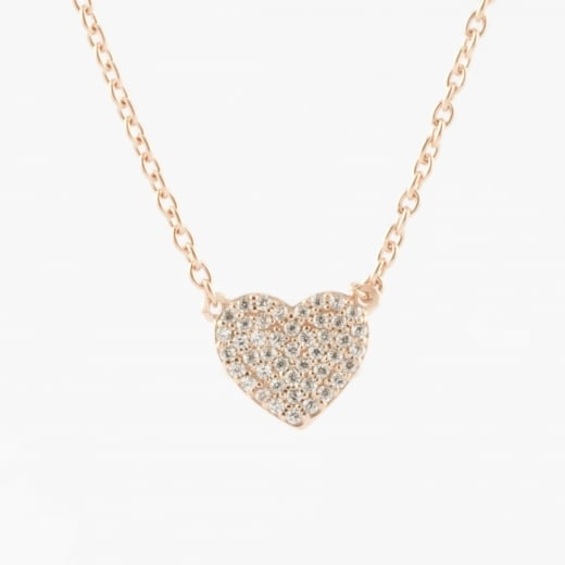 Virtue Exquisite Rose Gold CZ Heart Necklace