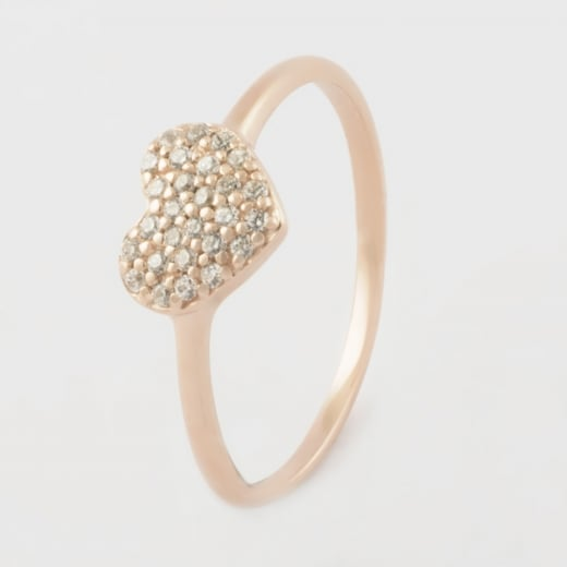 Virtue Exquisite Rose Gold CZ Heart Ring