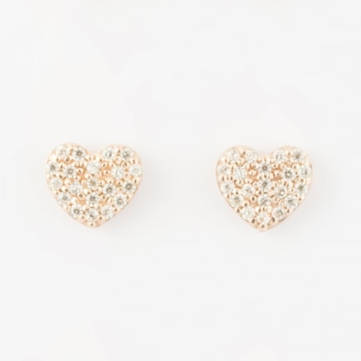 Virtue Exquisite Rose Gold CZ heart studs