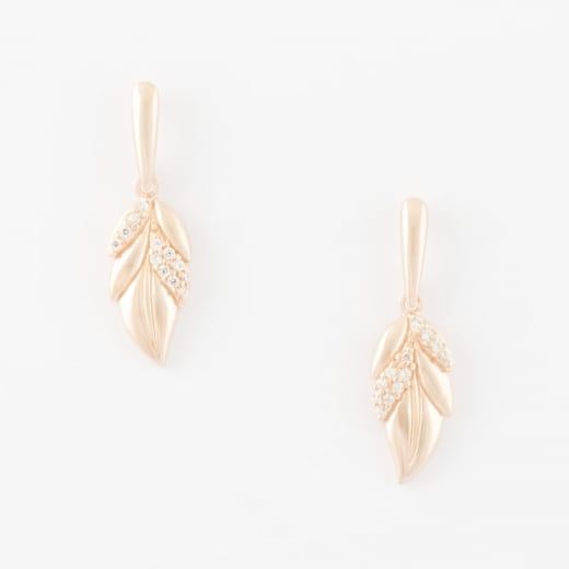 Virtue Exquisite Rose Gold CZ Leaf Earrings