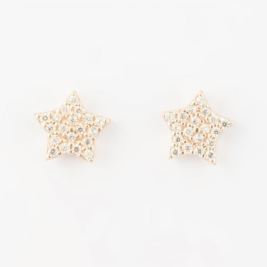 Virtue Exquisite Rose Gold CZ Star Earrings