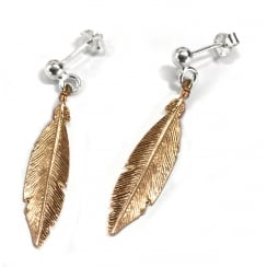 Rose Gold Feather Drop Earrings
