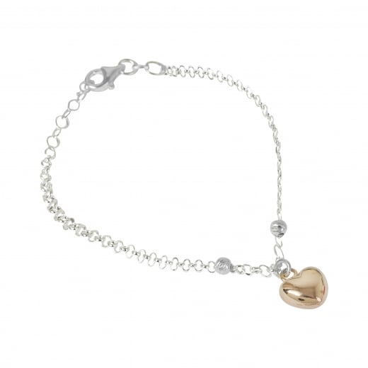 Virtue Exquisite Rose Gold Heart and Faceted Bead Bracelet