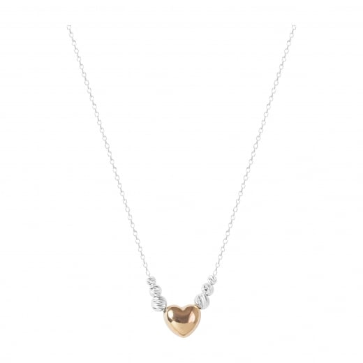 Virtue Exquisite Rose Gold Heart and Faceted Bead Necklace