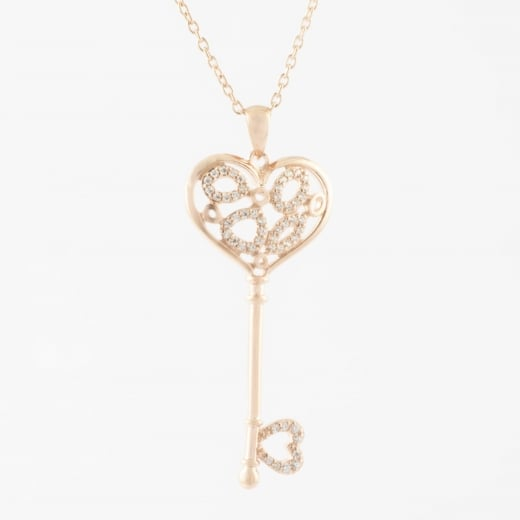 Virtue Exquisite Rose Gold Heart Key Necklace