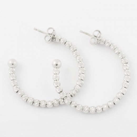 Virtue Exquisite Silver Beaded Hoop Earrings