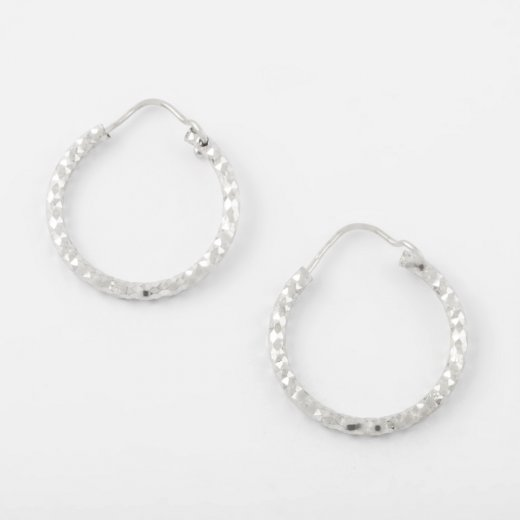 Virtue Exquisite Silver Diamond Cut Hoops