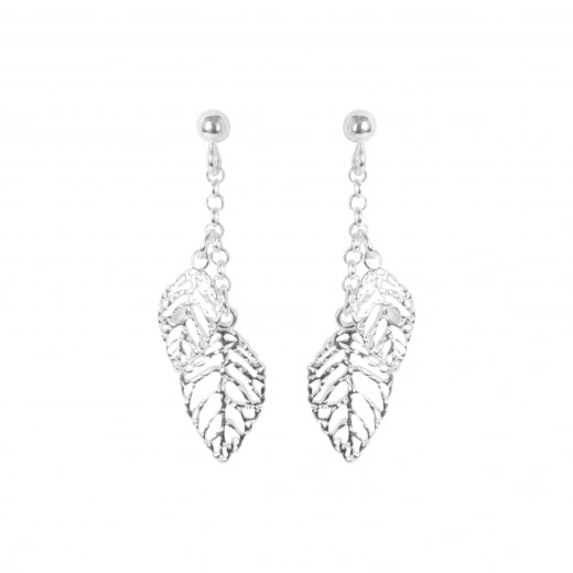 Virtue Exquisite Silver Drop Leaf Earrings