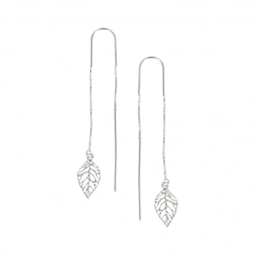 Virtue Exquisite Silver Drop Through Leaf earrings