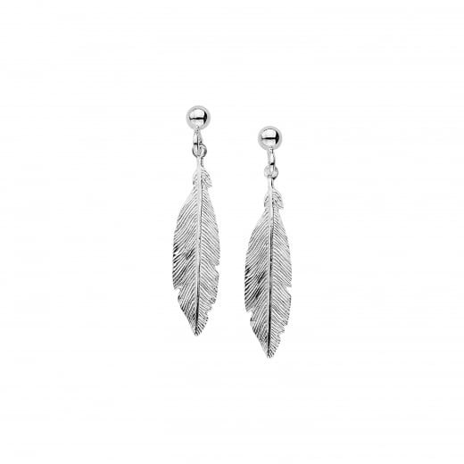 Virtue Exquisite Silver Feather Drop Earrings