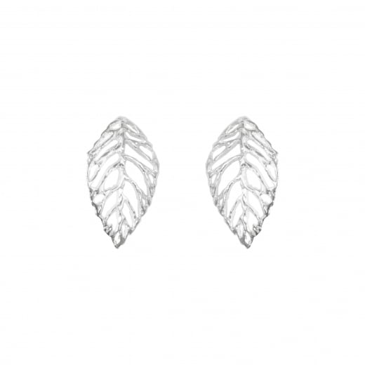 Virtue Exquisite Silver Leaf Stud Earrings