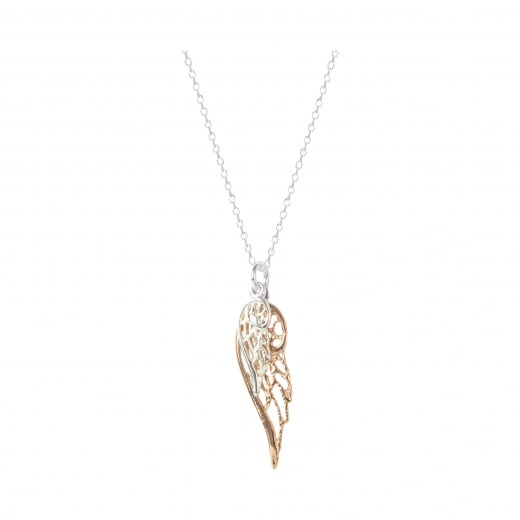 Virtue Exquisite Silver Rose Gold Double Angel Wing Necklace