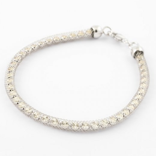 Virtue Exquisite Silver Woven Crystal Mesh Bracelet