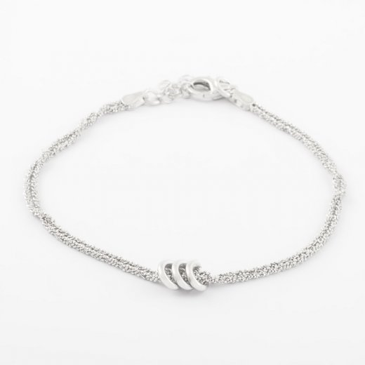 Virtue Exquisite Sparkling Strand Triple Rings Bracelet
