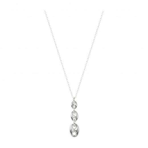 Virtue Exquisite Sterling Silver Coffee Bead Link Necklace