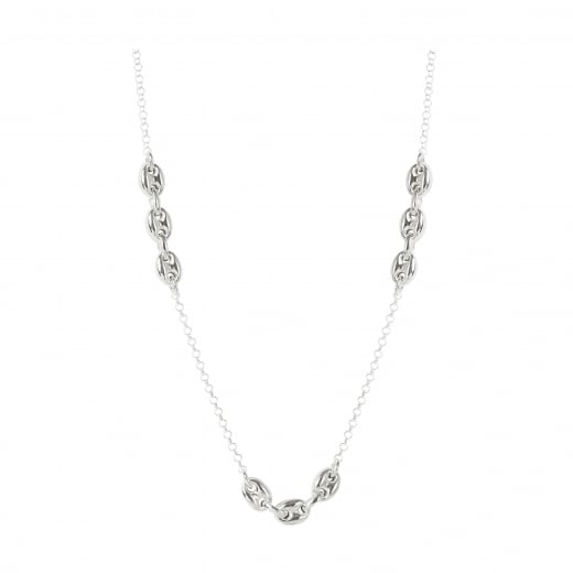 Virtue Exquisite Sterling Silver Coffee Bead Triple Link Necklace