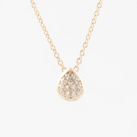 Tear Drop Rose Gold and CZ necklace